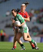 26 September 2010; Maggie O'Brien, Limerick, in action against Anne Marie Murphy, Louth. TG4 All-Ireland Junior Ladies Football Championship Final, Louth v Limerick, Croke Park, Dublin. Picture credit: Brendan Moran / SPORTSFILE