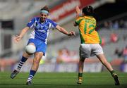 26 September 2010; Michelle Ryan, Waterford, in action against Karen Feeney, Donegal. TG4 All-Ireland Intermediate Ladies Football Championship Final, Donegal v Waterford, Croke Park, Dublin. Picture credit: Brendan Moran / SPORTSFILE