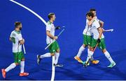 12 August 2016; John Jermyn of Ireland is congratulated by team mate Shane O'Donoghue after scoring his side's first goal during the Pool B match between Ireland and Argentina at the Olympic Hockey Centre, Deodoro, during the 2016 Rio Summer Olympic Games in Rio de Janeiro, Brazil. Photo by Stephen McCarthy/Sportsfile