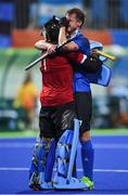 12 August 2016; Lucas Rossi of Argentina and Juan Vivaldi of Argentina celebrate after the Pool B match between Ireland and Argentina at the Olympic Hockey Centre, Deodoro, during the 2016 Rio Summer Olympic Games in Rio de Janeiro, Brazil. Photo by Stephen McCarthy/Sportsfile
