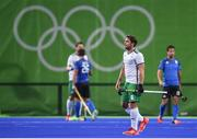 12 August 2016; Ronan Gormley of Ireland following defeat after the Pool B match between Ireland and Argentina at the Olympic Hockey Centre, Deodoro, during the 2016 Rio Summer Olympic Games in Rio de Janeiro, Brazil. Photo by Stephen McCarthy/Sportsfile