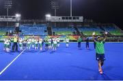 12 August 2016; Ireland coach Craig Fulton salutes fans following defeat after the Pool B match between Ireland and Argentina at the Olympic Hockey Centre, Deodoro, during the 2016 Rio Summer Olympic Games in Rio de Janeiro, Brazil. Photo by Stephen McCarthy/Sportsfile