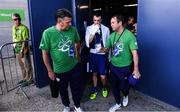 13 August 2016; Steven Donnelly of Ireland leaves the arena with coaches Eddie Bolger, right, and John Conlan, left, following his Welterweight preliminary round of 32 bout defeat to Mohammed Rabii of Morocco in the Riocentro Pavillion 6 Arena during the 2016 Rio Summer Olympic Games in Rio de Janeiro, Brazil. Photo by Stephen McCarthy/Sportsfile