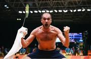13 August 2016; Scott Evans of Ireland celebrates his victory in the Men's Singles Group Play Stage match between Scott Evans and Ygor Coelho de Oliveira at Riocentro Pavillion 4 Arena during the 2016 Rio Summer Olympic Games in Rio de Janeiro, Brazil. Photo by Stephen McCarthy/Sportsfile