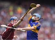 14 August 2016; Jake Morris of  Tipperary in action against Cianan Fahy of Galway during the Electric Ireland GAA Hurling All-Ireland Minor Championship Semi-Final game between Galway and Tipperary at Croke Park, Dublin. Photo by David Maher/Sportsfile