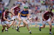 14 August 2016; Brian McGrath of Tipperary in action against Galway's, from left, Evan Niland, Liam Forde and Michael Lynch during the Electric Ireland GAA Hurling All-Ireland Minor Championship Semi-Final game between Galway and Tipperary at Croke Park, Dublin. Photo by Piaras Ó Mídheach/Sportsfile