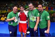 14 August 2016; Michael Conlan of Ireland with coaches from left, Zaur Antia, John Conlan and Eddie Bolger after defeating Aram Avagyan of Armenia following their Bantamweight preliminary round of 16 bout in the Riocentro Pavillion 6 Arena, Barra da Tijuca, during the 2016 Rio Summer Olympic Games in Rio de Janeiro, Brazil. Photo by Ramsey Cardy/Sportsfile