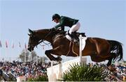 14 August 2016; Greg Broderick of Ireland on MHS Going Global in action during the Individual Jumping 1st Qualifier at the Olympic Equestrian Centre, Deodoro, during the 2016 Rio Summer Olympic Games in Rio de Janeiro, Brazil. Photo by Brendan Moran/Sportsfile