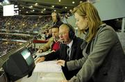 30 October 2010; RTÉ match commentator Micheál Ó Muircheartaigh, with co-commentator Bernard Flynn and his daughter Doireann, during the final moments of the game. Irish Daily Mail International Rules Series 2nd Test, Ireland v Australia, Croke Park, Dublin. Picture credit: Ray McManus / SPORTSFILE