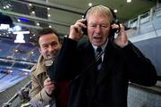 30 October 2010; RTÉ match commentator Micheál Ó Muircheartaigh, with co-commentator Bernard Flynn after the game. Irish Daily Mail International Rules Series 2nd Test, Ireland v Australia, Croke Park, Dublin. Picture credit: Ray McManus / SPORTSFILE