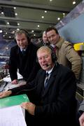 30 October 2010; RTÉ match commentator Micheál Ó Muircheartaigh with co-commentator Bernard Flynn, right, and RTÉ Gaelic Games correspondent Brian Carthy after the game. Irish Daily Mail International Rules Series 2nd Test, Ireland v Australia, Croke Park, Dublin. Picture credit: Ray McManus / SPORTSFILE