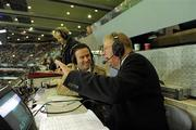 30 October 2010; RTÉ match commentator Micheál Ó Muircheartaigh with co-commentator Bernard Flynn after the game. Irish Daily Mail International Rules Series 2nd Test, Ireland v Australia, Croke Park, Dublin. Picture credit: Ray McManus / SPORTSFILE