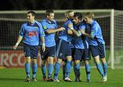 1 November 2010; Graham Rusk, second from right, UCD, celebrates with team mates after scoring his side's first goal. Newstalk A Championship Final, UCD v Bohemians, Belfield Bowl, UCD, Dublin. Picture credit: David Maher / SPORTSFILE