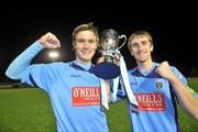 1 November 2010; UCD joint captains Michael Leahy, left, and Michael Kelly celebrate at the end of the game. Newstalk A Championship Final, UCD v Bohemians, Belfield Bowl, UCD, Dublin. Picture credit: David Maher / SPORTSFILE