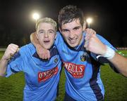 1 November 2010; Winning goalscorer Graham Rusk, right, UCD, celebrates at the end of the game with team-mate Keith Ward. Newstalk A Championship Final, UCD v Bohemians, Belfield Bowl, UCD, Dublin. Picture credit: David Maher / SPORTSFILE