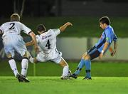 1 November 2010; Graham Rusk, UCD, shoots to score his side's second and winning goal deep in injury time to win the game, despite the efforts Roberto Lopez, 4, Bohemians. Newstalk A Championship Final, UCD v Bohemians, Belfield Bowl, UCD, Dublin. Picture credit: David Maher / SPORTSFILE