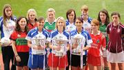 today with a host of players from the clubs participating in the knock-out stages of the competitions. Pictured are John Prendergast, Tesco Head of Trade and Local Marketing, with players, from left, Katie Geoghegan, West Clare Gaels, Co. Clare, Grainne Dunne, Timahoe, Co. Laois, Elisha Hunston, Edenderry, Co. Offaly, Michelle Allen, St. Conleth's, Co. Laois, Fiona McHale, Carnacon, Co. Mayo, Mary O'Connor, Inch Rovers, Co. Cork, Eimear Gallagher, St. Gall's Co. Antrim, Emma Nugent, Omagh St. Enda's, Co. Tyrone, Siobhan Finnerty, Carnacon, Co. Mayo, Sinead Fowley, St. Patrick's Dromohaire, Co. Leitrim, Ciara Kilroy, Caltra Cuan's, Co. Galway, and Therese McCafferty, Termon, Co. Donegal. Tesco Ladies Football All-Ireland Club Championships Launch, Hogan Stand, Croke Park, Dublin. Picture credit: Paul Mohan / SPORTSFILE