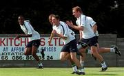 28 August 2001; Irish players from left, Clinton Morrison, Stephen Reid, Robbie Keane and Gary Donerty pictured during the Republic of Ireland training session ahead of the World Cup Qualifier against Holland. John Hyland Park, Baldonnell, Co. Dublin. Soccer. Picture credit; David Maher / SPORTSFILE