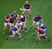 14 August 2016; Tipperary players, left to right, Séamus Kennedy, Brendan Maher, Pádraic Maher, Dan McCormack, and Patrick Maher in action against Galway players, left to right, Cyril Donnellan, Conor Cooney, Cathal Mannion, Conor Whelan, and David Burke, during the GAA Hurling All-Ireland Senior Championship Semi-Final game between Galway and Tipperary at Croke Park, Dublin. Photo by Daire Brennan/Sportsfile
