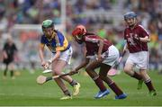 14 August 2016; Alicia Olaniran, Scoil Iosaf NS, Castlemartyn, Cork, representing Galway in action against Emma Byrne, Scoil Bhride, Cannistown, Navan, Co Meath, representing Tipperary during the INTO Cumann na mBunscol GAA Respect Exhibition Go Games at the GAA Hurling All-Ireland Senior Championship Semi-Final game between Galway and Tipperary at Croke Park, Dublin. Photo by Ray McManus/Sportsfile