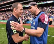 14 August 2016; Manager of  Tipperary minors Liam Cahill, left shakes hands with Galway minor manager Jeffrey Lynskey at the end of the Electric Ireland GAA Hurling All-Ireland Minor Championship Semi-Final game between Galway and Tipperary at Croke Park, Dublin. Photo by David Maher/Sportsfile