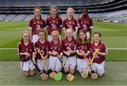 14 August 2016; The Galway camogie team of, back row, from left, Jane Foley, Ballyhea NS, Ballyhea, Charleville, Cork, representing Galway, Tracey Furlong, Kilmyshall NS, Kilmyshall, Bunclody, Wexford, representing Galway, Gearóid McInerney of Galway and Alicia Olaniran, Scoil Iosaf NS, Castlemartyr, Cork, representing Galway. Front row, from left, Catherine Hanley, Tynagh NS, Loughrea, Galway, representing Galway, Ciara McDonagh, Holy Family NS, Tubbercurry, Sligo, representing Galway, Clodagh Landers, Bunscoil Bhothar na Naomh, Lismore, Waterford, representing Galway, Éadaoin Ó Snodaigh, Gaelscoil Inse Chóir, Dublin, representing Galway, Millie Keane, St Joseph's NS, Leitrim Village, Leitrim, representing Galway and Roisín McDonagh, St Patrick's NS, Geevagh, Sligo, representing Galway, ahead of the INTO Cumann na mBunscol GAA Respect Exhibition Go Games at the GAA Hurling All-Ireland Senior Championship Semi-Final game between Galway and Tipperary at Croke Park, Dublin. Photo by Piaras Ó Mídheach/Sportsfile