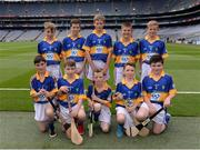 14 August 2016; The Tipperary hurling team, back row, from left, Seán McGrath, Scoil Bhríde, Barn Road, Dunlee, Louth, representing Tipperary, Eoghan Stack, Ballybrown NS, Clarina, Limerick, representing Tipperary, Kevin Maher, Lisnakella, Oola, Co. Limerick, representing Tipperary, Joseph Fitzgerald, Golden NS Cashel, Tipperary, representing Tipperary, and Austin Ó Braonain, Gaile NS, Holycross, Thurles, representing Tipperary. Front row, from left, Pearse Sweeney, Portaferry, Co Down, representing Tipperary, Tiarnan Gallagher, St Mary's PS Killesher, Enniskillen, Fermanagh, representing Tipperary, William Cash, St Colmcille's, Templemore, Tipperary, representing Tipperary, Conor Cunningham, Castleblayney BNS, Monaghan, representing Tipperary, and Liam Farrell, St Brigid's, Tirkane Road, Maghera, Derry, representing Tipperary, ahead of the INTO Cumann na mBunscol GAA Respect Exhibition Go Games at the GAA Hurling All-Ireland Senior Championship Semi-Final game between Galway and Tipperary at Croke Park, Dublin. Photo by Piaras Ó Mídheach/Sportsfile