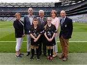 14 August 2016; President of the Camogie Association Catherine Neary, John Boyle, Vice President INTO,  Uachtarán Chumann Lúthchleas Gaeil Aogán Ó Fearghail, Kathleen Woods, Camogie Association, and President of Cumann na mBunscol Liam McGee with referees Oisín McNicholl, from Dungiven, Derry, and Conla Bradley, from Greenlough, Derry, ahead of the INTO Cumann na mBunscol GAA Respect Exhibition Go Games at the GAA Hurling All-Ireland Senior Championship Semi-Final game between Galway and Tipperary at Croke Park, Dublin. Photo by Piaras Ó Mídheach/Sportsfile