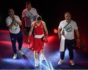 15 August 2016; Katie Taylor of Ireland walks out with Team Ireland coaches Zaur Antia, right, John Conlan and Eddie Bolger, left, ahead of her Lightweight quarter-final bout against Mira Potkonen of Finland in the Riocentro Pavillion 6 Arena, Barra da Tijuca, during the 2016 Rio Summer Olympic Games in Rio de Janeiro, Brazil. Photo by Ramsey Cardy/Sportsfile
