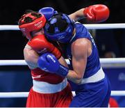 15 August 2016; Katie Taylor, left, of Ireland in action against Mira Potkonen of Finland during their Lightweight quarter-final bout in the Riocentro Pavillion 6 Arena, Barra da Tijuca, during the 2016 Rio Summer Olympic Games in Rio de Janeiro, Brazil. Photo by Ramsey Cardy/Sportsfile