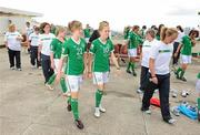 16 September 2010; Republic of Ireland players Emma Hansberry, 21, and Denise O'Sullivan, 10, after their squad photo. Republic of Ireland at the FIFA U-17 Women's World Cup - Squad Photos, Hilton Trinidad, Lady Young Road, Port of Spain, Trinidad, Trinidad & Tobago. Picture credit: Stephen McCarthy / SPORTSFILE