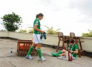 16 September 2010; Republic of Ireland players Dora Gorman, left, and Ciara Grant after their squad photo. Republic of Ireland at the FIFA U-17 Women's World Cup - Squad Photos, Hilton Trinidad, Lady Young Road, Port of Spain, Trinidad, Trinidad & Tobago. Picture credit: Stephen McCarthy / SPORTSFILE
