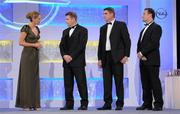 5 November 2010; MC Evanne Ni Chuilinn speaking to Dessie Farrell, Chief Executive of the GPA, in the company of Michael Duignan, 2nd from right, and Bernard Flynn, right, during the 2010 Opel Gaelic Players Association Gala Awards for hurling and football. Citywest Hotel, Saggart, Co. Dublin. Picture credit: Brendan Moran / SPORTSFILE