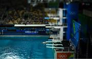 15 August 2016; (EDITOR'S NOTE; A variable planed lens was used in the creation of this image) Oliver Dingley of Ireland competes in the preliminary round of the Men's 3m springboard in the Maria Lenk Aquatics Centre, Barra da Tijuca, during the 2016 Rio Summer Olympic Games in Rio de Janeiro, Brazil. Photo by Brendan Moran/Sportsfile