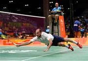 15 August 2016; Scott Evans of Ireland during the Men's Singles Round of 16 match between Scott Evans and Viktor Axelsen at the Riocentro Pavillion 4 Arena during the 2016 Rio Summer Olympic Games in Rio de Janeiro, Brazil. Photo by Stephen McCarthy/Sportsfile