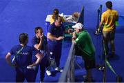 16 August 2016; Team Ireland coaches, from left, John Conlan, Eddie Bolger and Zaur Antia speak with Kevin Kilty, Chef de Equipe of Ireland following the Bantamweight Quarterfinal bout between Michael Conlan of Ireland and Vladimir Nikitin of Russia at the Riocentro Pavillion 6 Arena during the 2016 Rio Summer Olympic Games in Rio de Janeiro, Brazil. Photo by Stephen McCarthy/Sportsfile