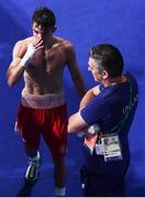 16 August 2016; Michael Conlan of Ireland with his coach and father John following his Bantamweight Quarterfinal bout with Vladimir Nikitin of Russia at the Riocentro Pavillion 6 Arena during the 2016 Rio Summer Olympic Games in Rio de Janeiro, Brazil. Photo by Stephen McCarthy/Sportsfile