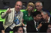 16 August 2016; Minister for Sport Shane Ross, left, Ruth Buchanan and John Treacy, CEO, Sport Ireland, during the Bantamweight quarter final bout between Michael Conlan of Ireland and Vladimir Nikitin of Russia at the Riocentro Pavillion 6 Arena during the 2016 Rio Summer Olympic Games in Rio de Janeiro, Brazil. Photo by Stephen McCarthy/Sportsfile Photo by Stephen McCarthy/Sportsfile