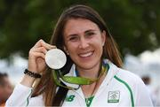 16 August 2016; Annalise Murphy of Ireland celebrates with her silver medal after the Women's Laser Radial Medal race on the Pão de Açúcar course, Copacabana, during the 2016 Rio Summer Olympic Games in Rio de Janeiro, Brazil. Photo by Brendan Moran/Sportsfile