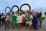 16 August 2016; Annalise Murphy of Ireland celebrates with family and friends after winning a silver medal in the Women's Laser Radial Medal race on the Pão de Açúcar course, Copacabana, during the 2016 Rio Summer Olympic Games in Rio de Janeiro, Brazil. Photo by Brendan Moran/Sportsfile