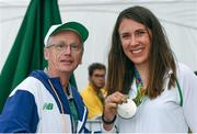 16 August 2016; Annalise Murphy of Ireland with John Treacy, CEO, Sport Ireland, after she won silver in the Women's Laser Radial Medal race on the Pão de Açúcar course, Copacabana, during the 2016 Rio Summer Olympic Games in Rio de Janeiro, Brazil. Photo by Brendan Moran/Sportsfile