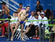 16 August 2016; Oliver Dingley of Ireland watches the scoreboard during the Men's 3m springboard final at the Maria Lenk Aquatics Centre during the 2016 Rio Summer Olympic Games in Rio de Janeiro, Brazil. Photo by Stephen McCarthy/Sportsfile