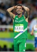 16 August 2016; Thomas Barr of Ireland celebrates winning the Men's 400m Semi-Final at the Olympic Stadium during the 2016 Rio Summer Olympic Games in Rio de Janeiro, Brazil. Photo by Ramsey Cardy/Sportsfile