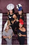 17 August 2016; Get the champagne on ice and hats at the ready, so say leading Irish milliners Jennifer Wrynne, Martha Lynn & Aoife Harrison who gathered to launch the Moët & Chandon Champion Hat competition with Maria Estivariz representing Moët & Chandon which is taking place at Leopardstown on day one of Longines Irish Champions Weekend, Saturday September 10th. The Champion Hat winner will receive a 2 night stay at the five-star The Merrion Hotel along with 2 magnums of Moët & Chandon. Visit www.leopardstown.com to pre-register and for further information. Photo by Sam Barnes/Sportsfile