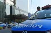 17 August 2016; A general view of a police car outside the Windsor Marapendi Hotel in Rio de Janeiro, Brazil. Photo by Ramsey Cardy/Sportsfile