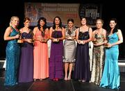 6 November 2010; Wexford recipients, from left, Katrina Parrock, Kate Kelly, Una Leacy, Mary Leacy, Mags D'Arcy, Catherine O'Loughlin, Ursula Jacob and Claire O'Connor with their at the 2010 Camogie All-Stars in association with O'Neills. Citywest Hotel, Saggart, Co. Dublin. Picture credit: Stephen McCarthy / SPORTSFILE