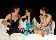 6 November 2010; Wexford players, from left, Catherine O'Loughlin, Claire O'Connor and Mags D'Arcy congratulate each other on receipt of their 2010 Camogie All-Star awards at the 2010 Camogie All-Stars in association with O'Neills. Citywest Hotel, Saggart, Co. Dublin. Picture credit: Stephen McCarthy / SPORTSFILE