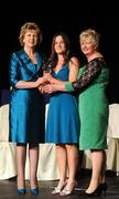 6 November 2010; Anne Dalton, Kilkenny, is presented with her 2010 Camogie All-Star award by President Mary McAleese and President of the Camogie Association Joan O' Flynn at the 2010 Camogie All-Stars in association with O'Neills. Citywest Hotel, Saggart, Co. Dublin. Picture credit: Stephen McCarthy / SPORTSFILE