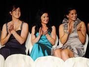 6 November 2010; Wexford players, from left, Catherine O'Loughlin, Claire O'Connor and Mags D'Arcy applaud the announcement of a receiving team-mate at the 2010 Camogie All-Stars in association with O'Neills. Citywest Hotel, Saggart, Co. Dublin. Picture credit: Stephen McCarthy / SPORTSFILE