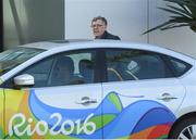 17 August 2016; William O'Brien, 1st Vice-President, Olympic Council of Ireland, arrives at the Hospital Samaritano Barra in Rio de Janeiro, Brazil. Photo by Ramsey Cardy/Sportsfile